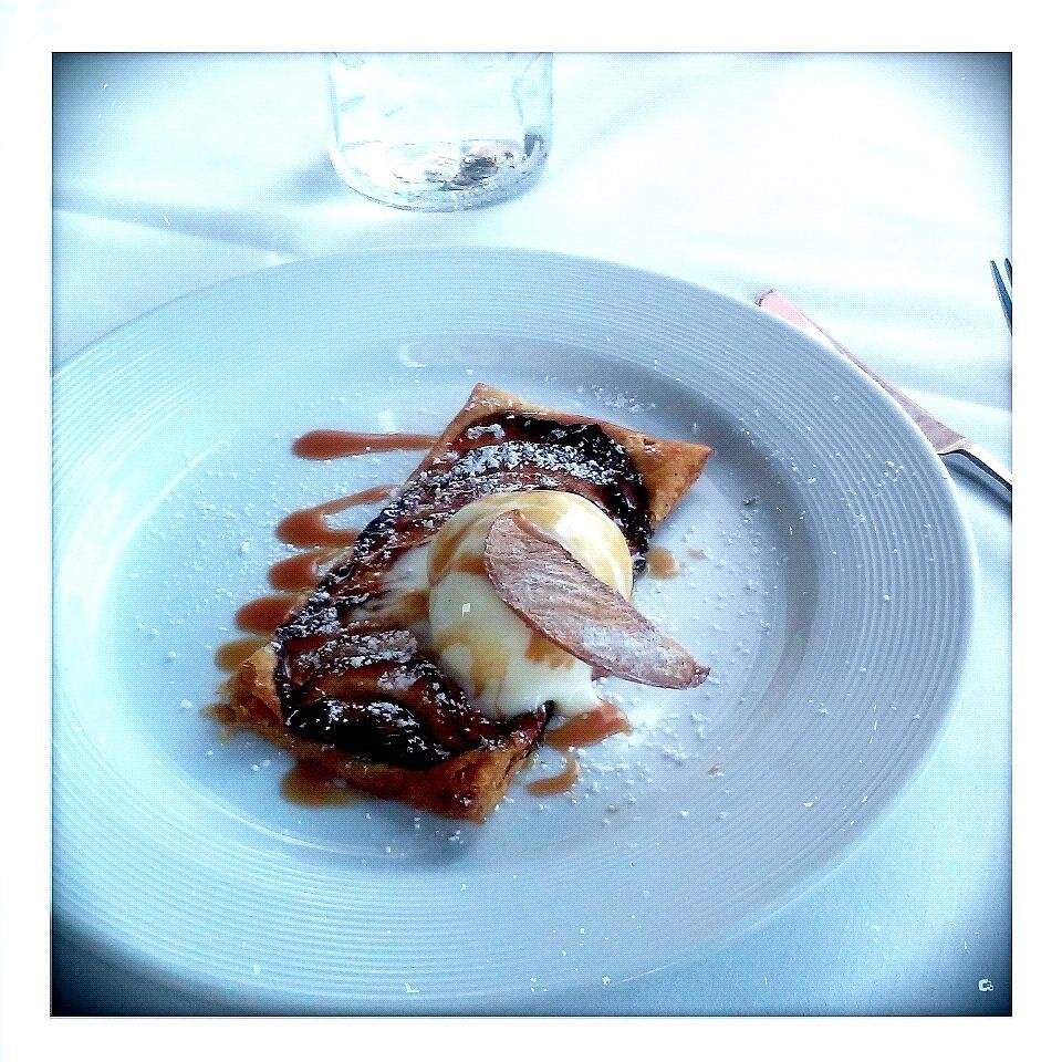 FINE TARTE AUX POMMES warm apple tart, vanilla ice cream, fleur de sel caramel sauce