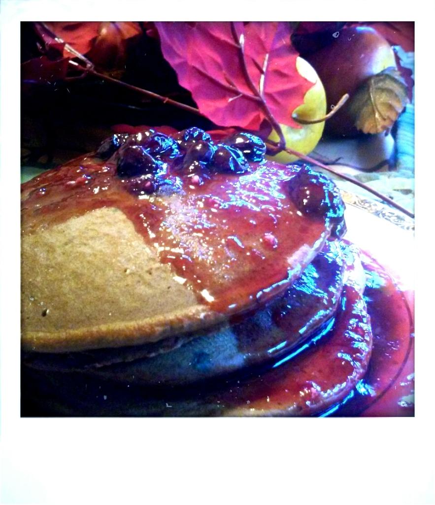 Chocolate Blueberry Pancakes with Blueberry Glaze