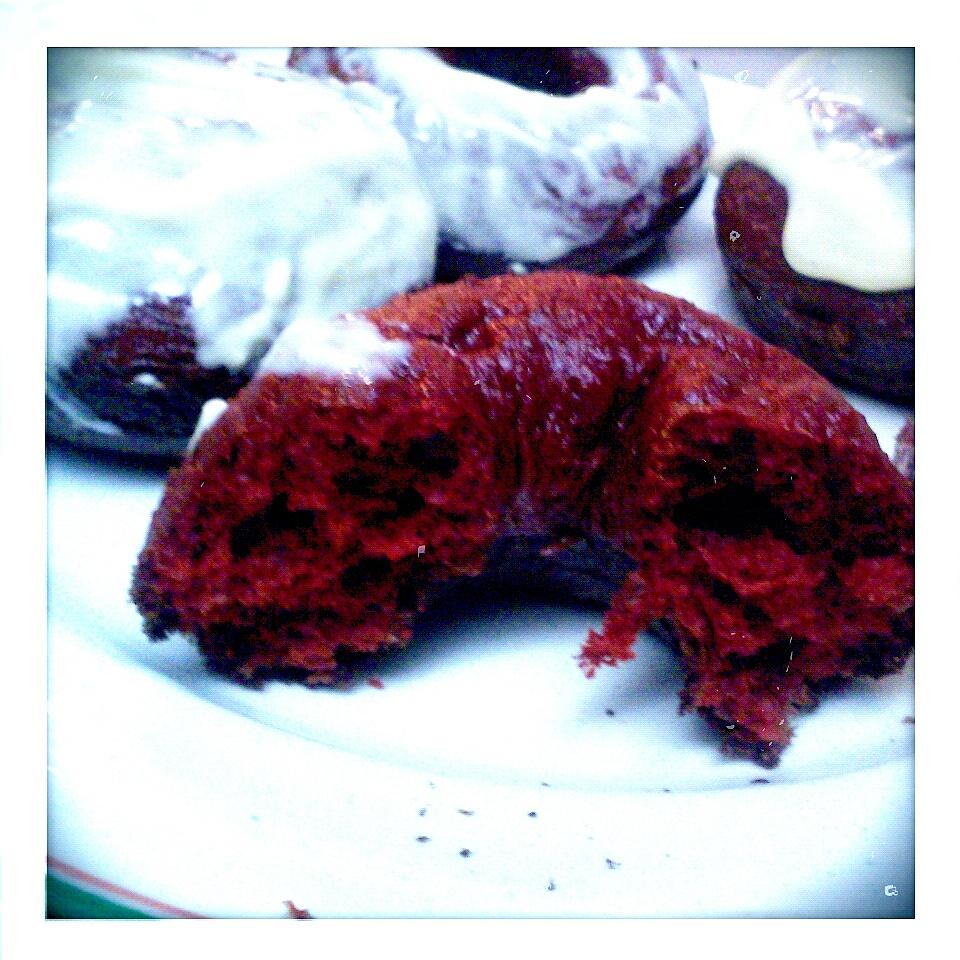 Red Velvet Donuts with Egg NogGlaze